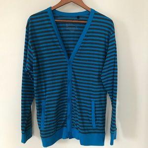b864eb77bbea jordan craig Sweaters - Jordan Craig Blue Striped Button Down Cardigan